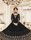 image of Shamita Shetty Black Georgette Embroidered Function Wear Anarkali Dress In Plus Size