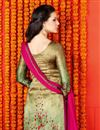 photo of Enchanting Golden Color Party Wear Digital Print Salwar Suit In Satin Fabric