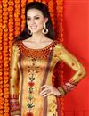 photo of Impressive Golden Color Digital Print Party Wear Satin Salwar Kameez