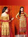 image of Impressive Golden Color Digital Print Party Wear Satin Salwar Kameez
