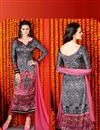 image of Charming Grey Color Straight Cut Printed Salwar Suit In Satin Fabric