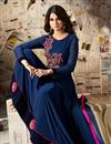 image of Jennifer Winget Navy Blue Embroidered Party Wear Anarkali Suit In Georgette Fabric