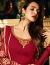 photograph of Eid Special Malaika Arora Crimson Color Embroidered Churidar Suit In Georgette With Jacket