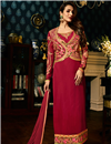 image of Eid Special Malaika Arora Crimson Color Embroidered Churidar Suit In Georgette With Jacket