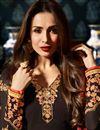 photograph of Eid Special Malaika Arora Function Wear Dark Brown Dress In Georgette With Jacket