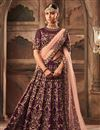 image of Purple Designer Bridal Lehenga With Embroidery Work On Georgette Fabric