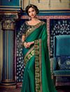 image of Eid Special Fancy Fabric Dark Green Color Festive Wear Saree With Embroidery Work