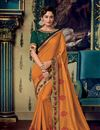 image of Eid Special Orange Color Fancy Fabric Designer Embroidered Saree With Blouse