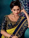 photo of Eid Special Navy Blue Color Fancy Fabric Embroidered Party Wear Saree With Designer Blouse