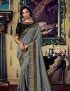 image of Reception Wear Saree With Embroidery Work In Fancy Fabric Grey Color