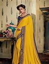 image of Eid Special Yellow Color Party Wear Saree In Fancy Fabric With Embroidery Work And Designer Blouse