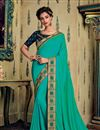 image of Eid Special Designer Saree In Fancy Fabric Turquoise Color With Embroidery Work And Party Wear Blouse