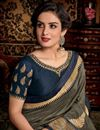 photo of Designer Festive Wear Dark Beige Color Fancy Fabric Saree With Embroidered Blouse