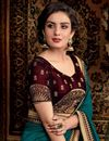 photo of Designer Saree In Fancy Fabric Teal With Embroidered Blouse