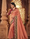 image of Function Wear Fancy Fabric Embroidered Saree In Salmon Color With Party Wear Blouse