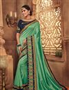 image of Embroidery Work On Fancy Fabric Sea Green Color Function Wear Saree With Marvelous Blouse