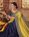 photo of Khaki Color Fancy Fabric Wedding Wear Saree With Embroidery Work And Gorgeous Blouse
