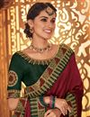 photo of Embroidery Work On Maroon Color Fancy Fabric Party Wear Saree With Amazing Blouse