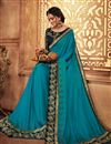 photo of Sky Blue Color Fancy Fabric Function Wear Saree With Embroidery Work And Astounding Blouse