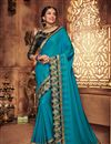 image of Fancy Fabric Designer Embroidered Saree In Sky Blue Color With Attractive Blouse