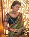 photo of Fancy Fabric Green Party Saree With Embroidery Work