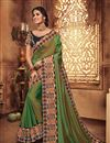 image of Fancy Fabric Green Party Saree With Embroidery Work