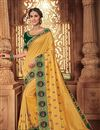 image of Fancy Fabric Golden Color Festive Wear Saree With Embroidery Work And Attractive Blouse
