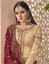 photo of Party Style Cream Georgette Embroidered Palazzo Suit With Fancy Dupatta