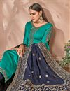 photo of Georgette Designer Embroidered Palazzo Suit In Cyan With Embellished Dupatta