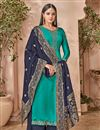 image of Georgette Designer Embroidered Palazzo Suit In Cyan With Embellished Dupatta