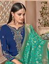 photo of Designer Embroidered Georgette Party Wear Palazzo Suit With Fancy Dupatta In Navy Blue
