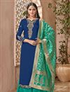 image of Designer Embroidered Georgette Party Wear Palazzo Suit With Fancy Dupatta In Navy Blue