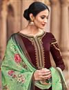 photo of Casual Style Georgette Brown Palazzo Suit With Printed Dupatta