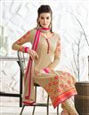 photo of Georgette Fabric Party Wear Long Length Chikoo Color Designer Salwar Kameez