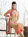 photo of Georgette Fabric Party Wear Long Length Chikoo Color Designer Salwar Kameez