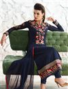 photo of Georgette Fabric Party Wear Long Length Navy Blue Color Designer Salwar Kameez