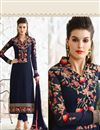 image of Georgette Fabric Party Wear Long Length Navy Blue Color Designer Salwar Kameez