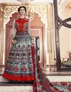image of Silk Fabric Long Length Designer Anarkali Salwar Suit In Red Color