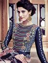 photo of Embroidered Navy Blue Color Long Anarkali Salwar Suit In Silk Fabric