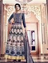 image of Embroidered Navy Blue Color Long Anarkali Salwar Suit In Silk Fabric