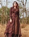 image of Brown Gown Style Long Kurti In Rayon Fabric