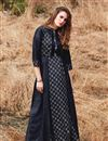 image of Navy Blue Gown Style Long Kurti In Rayon Fabric