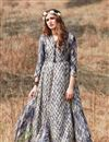 image of Rayon Fabric Party Style Long Gown Style Kurti In Beige