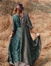 photo of Teal Gown Style Long Kurti In Rayon Fabric