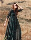 image of Teal Gown Style Long Kurti In Rayon Fabric