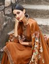 photo of Festive Wear Orange Color Fancy Fabric Embroidered Straight Cut Dress