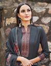 photo of Festive Wear Grey Color Embroidered Straight Cut Fancy Fabric Dress
