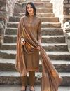 image of Festive Wear Fancy Fabric Embroidered Straight Cut Suit In Dark Beige Color