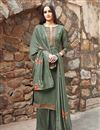 image of Festive Wear Fancy Fabric Sea Green Color Embroidered Straight Cut Dress