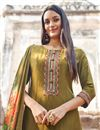 photo of Fancy Fabric Festive Wear Embroidered Straight Cut Suit In Khaki Color
